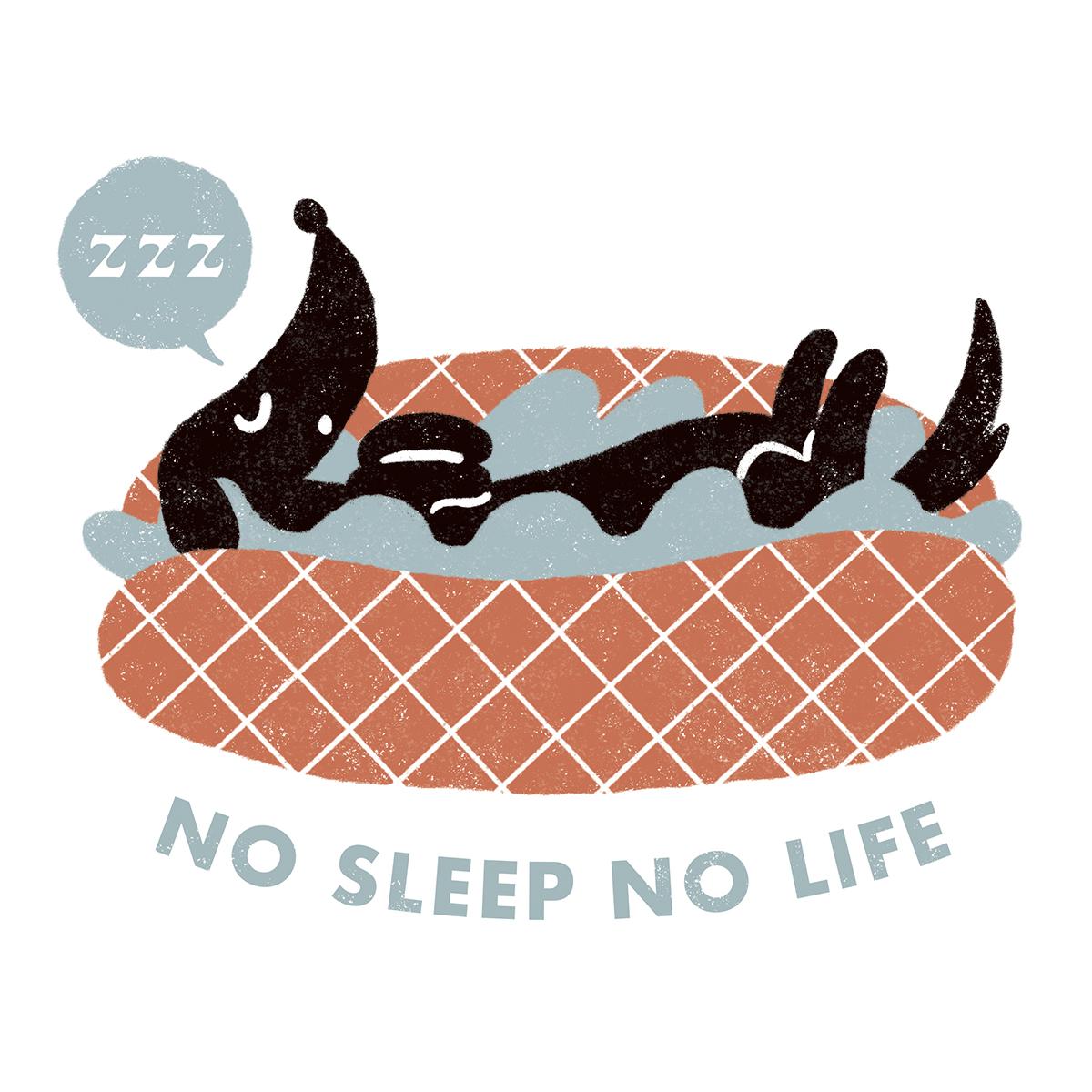 ホットドッグで寝ているダックスフンドのイラスト