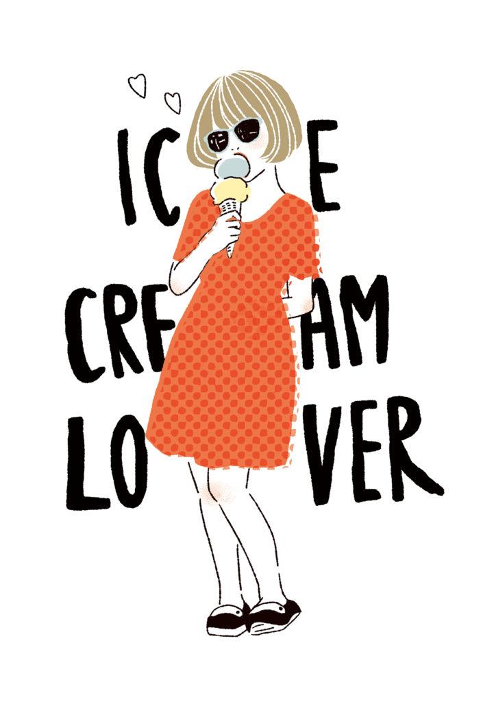 アイスクリームを食べている女の子のイラスト