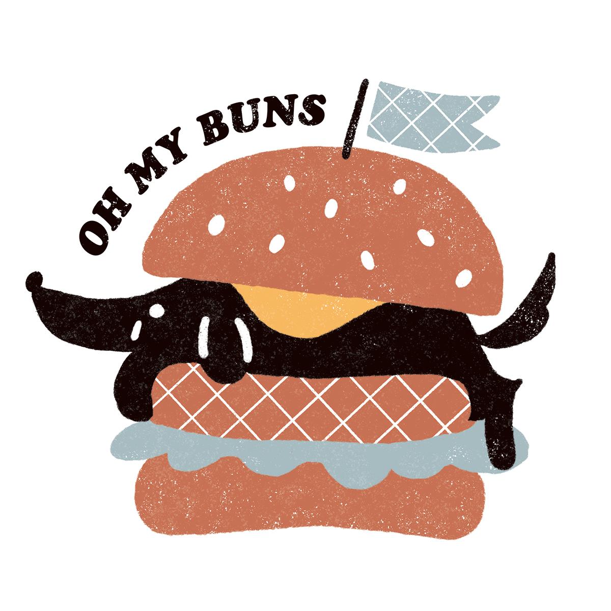 ハンバーガーに挟まる犬のイラスト