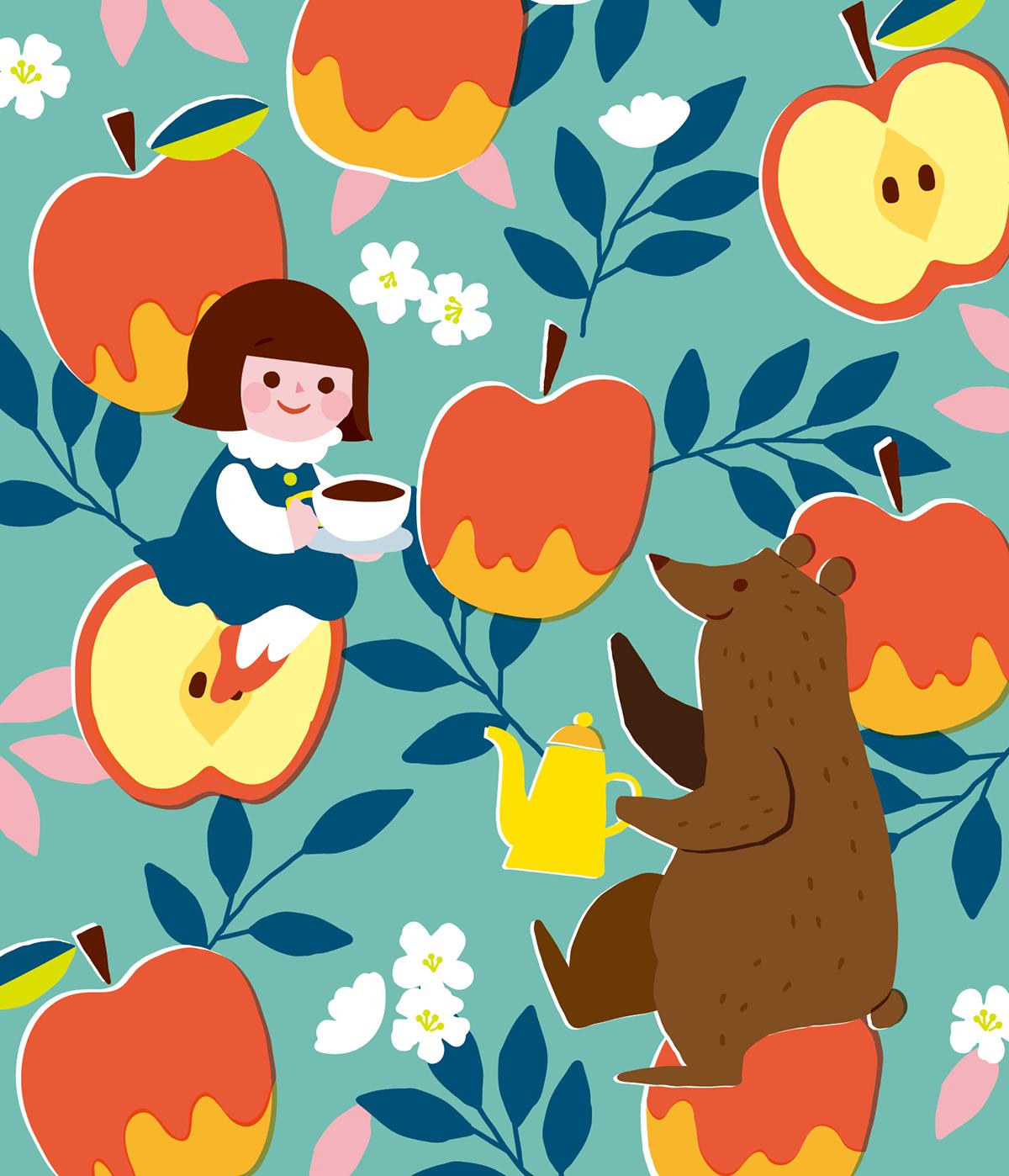 クマと紅茶を飲む女の子