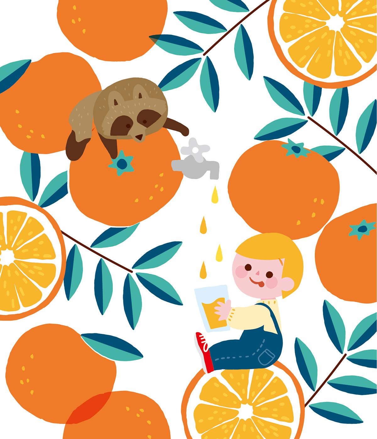 搾りたてのオレンジジュースを飲む男の子