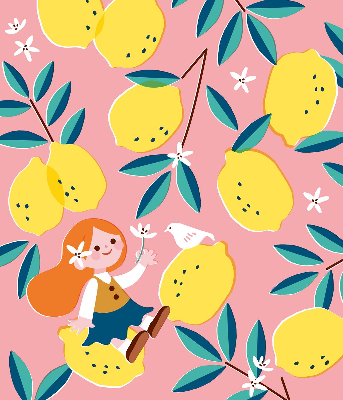 レモンの上で鳥に挨拶する女の子