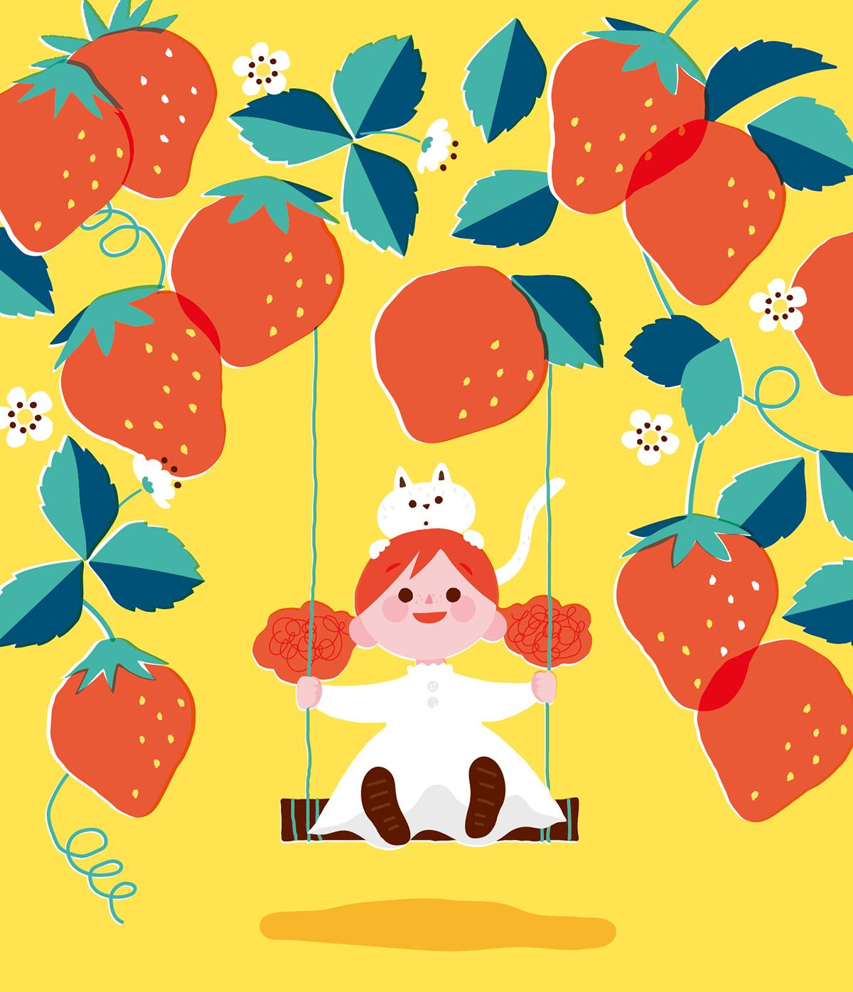 白猫と苺のブランコで遊ぶ女の子