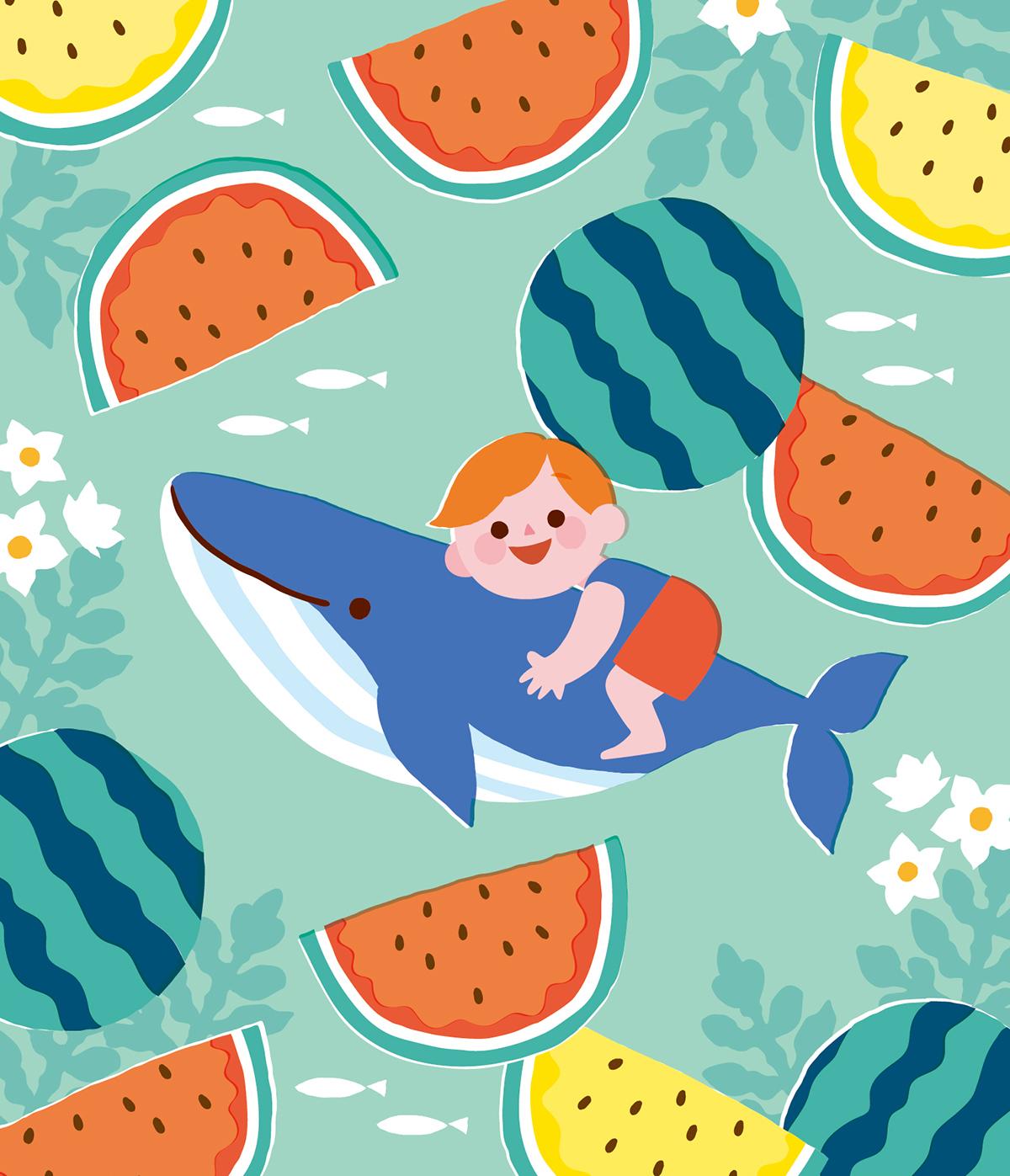 スイカの海でくじらと泳ぐ男の子