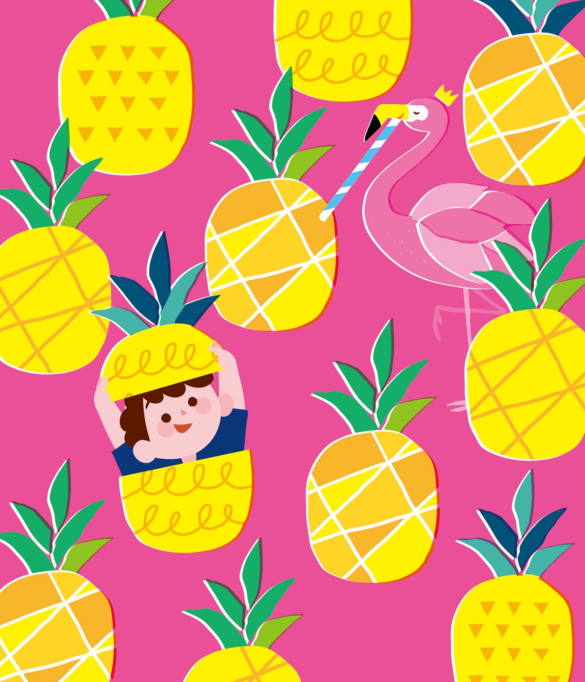 フラミンゴとパイナップル でかくれんぼしている男の子