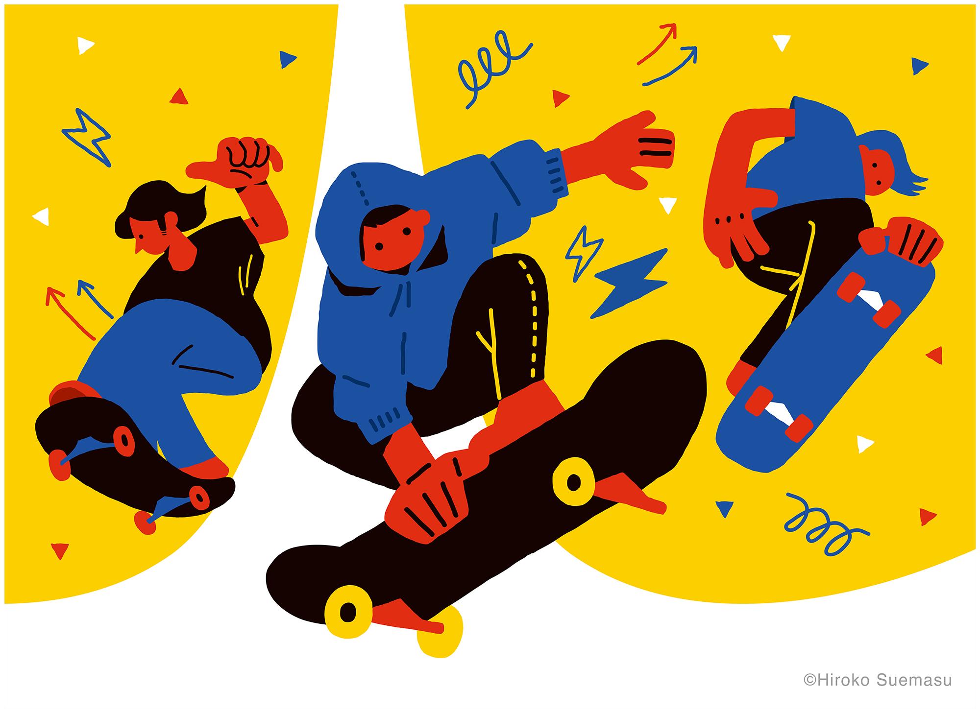 スケートボードをする男の子のイラストです